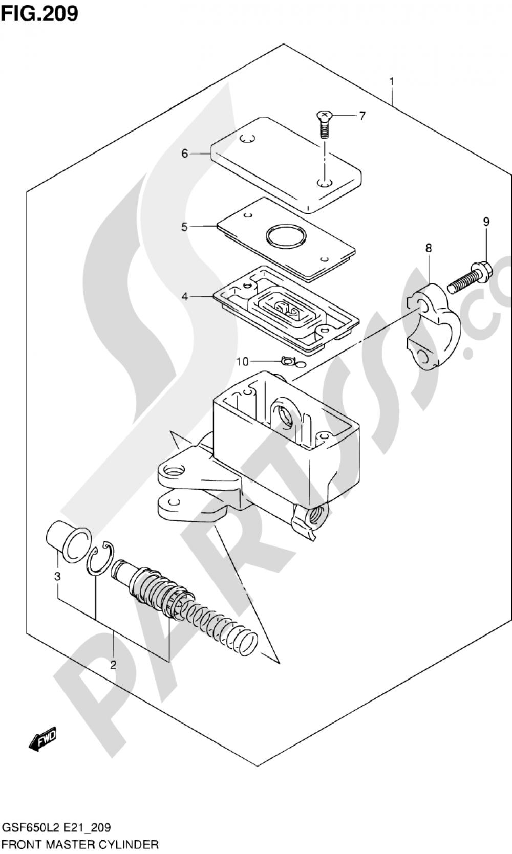 209 - FRONT MASTER CYLINDER (GSF650SL2 E21) Suzuki BANDIT GSF650 2012