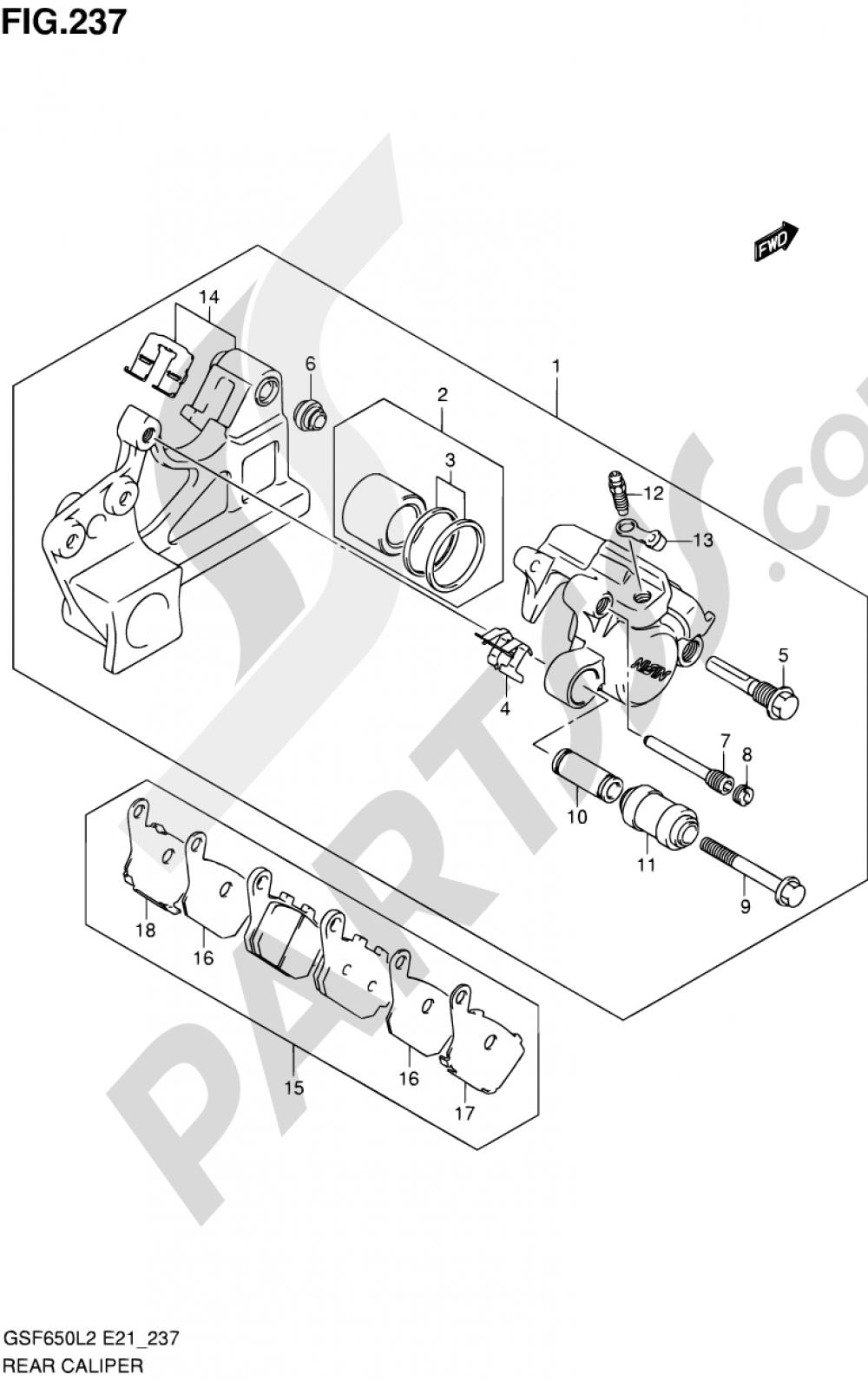 237 - REAR CALIPER (GSF650SAL2 E21) Suzuki BANDIT GSF650 2012