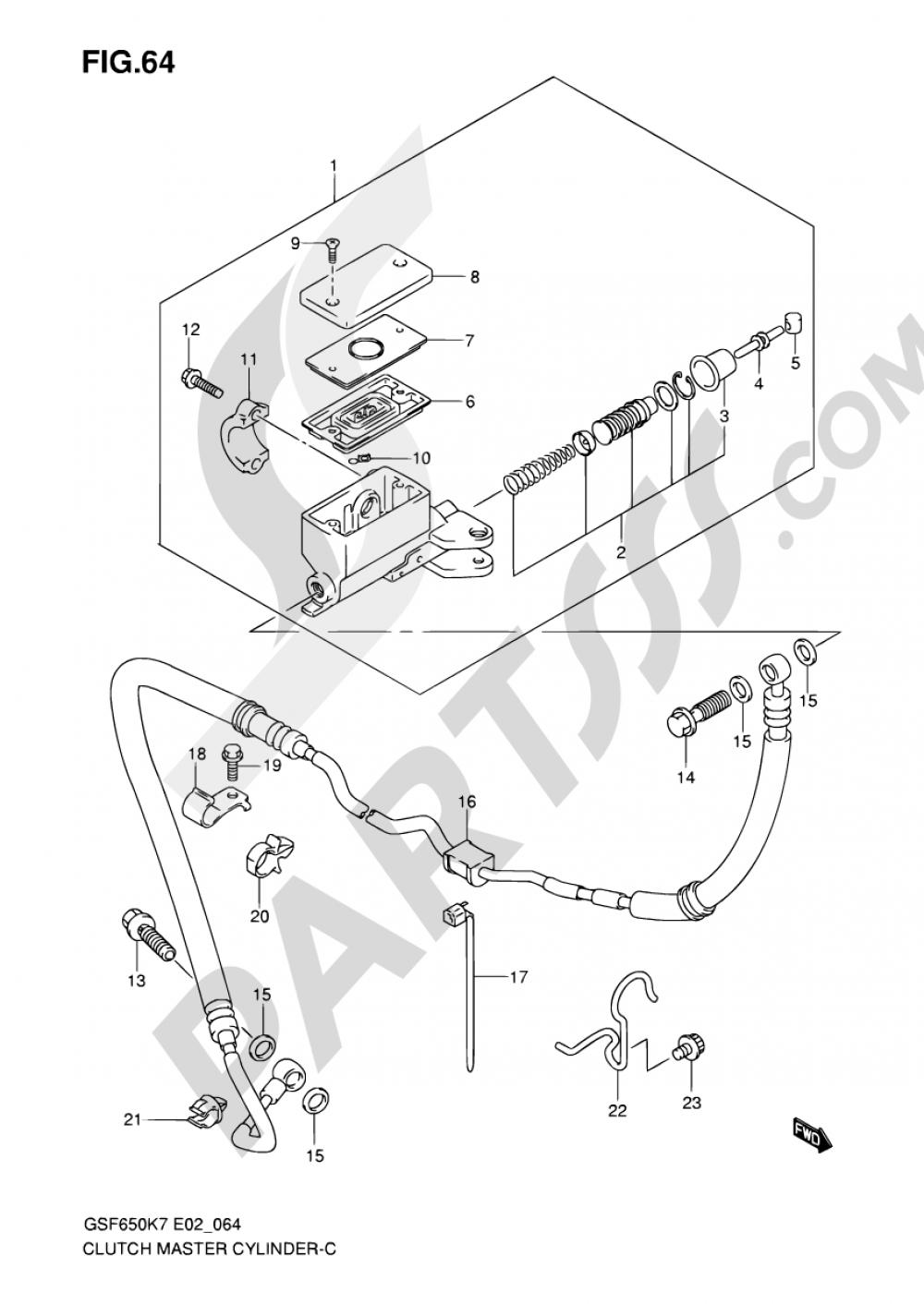 64 - CLUTCH MASTER CYLINDER (SEE NOTE) Suzuki BANDIT GSF650A 2008