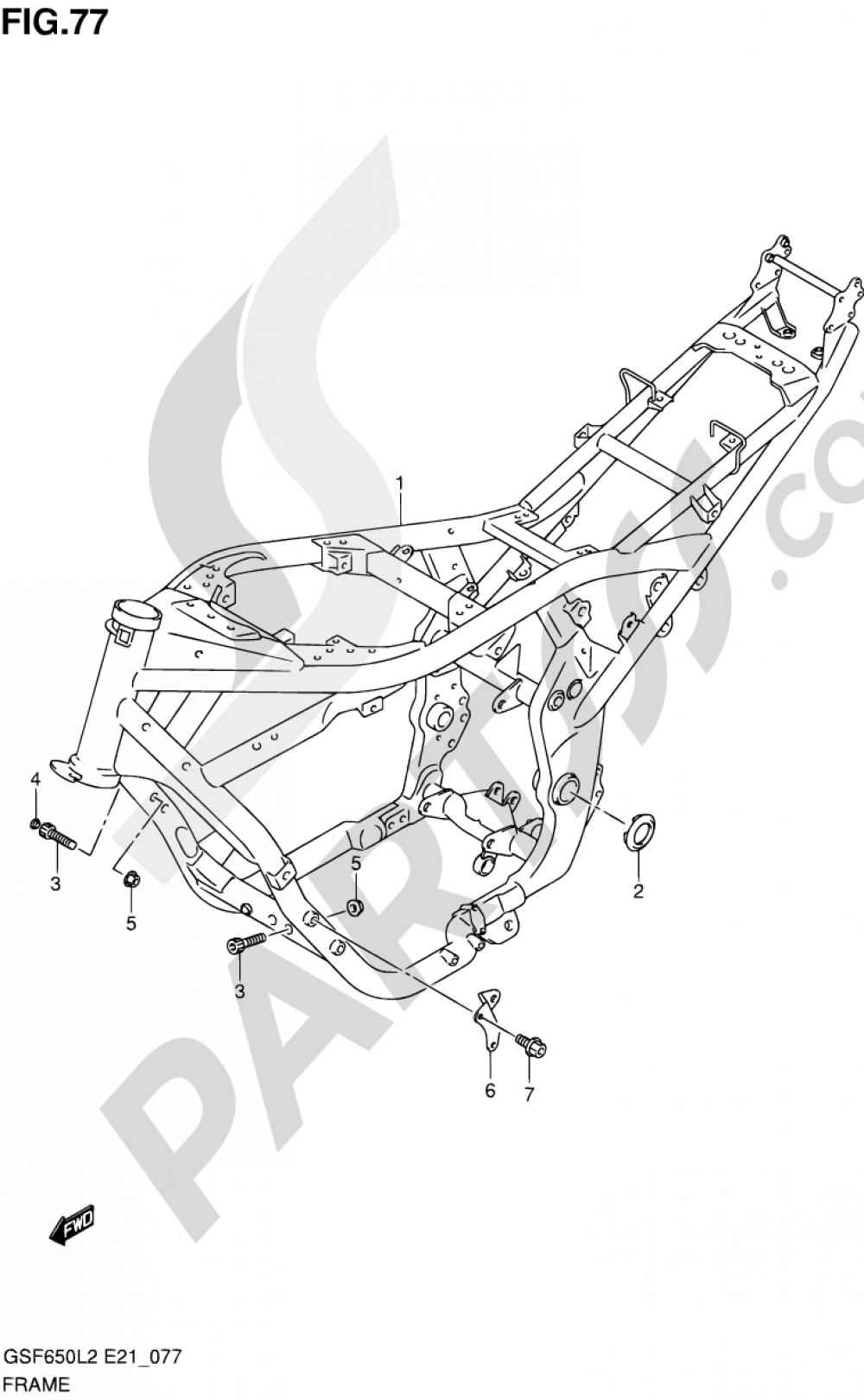 77 - FRAME (GSF650UL2 E21) Suzuki BANDIT GSF650A 2012