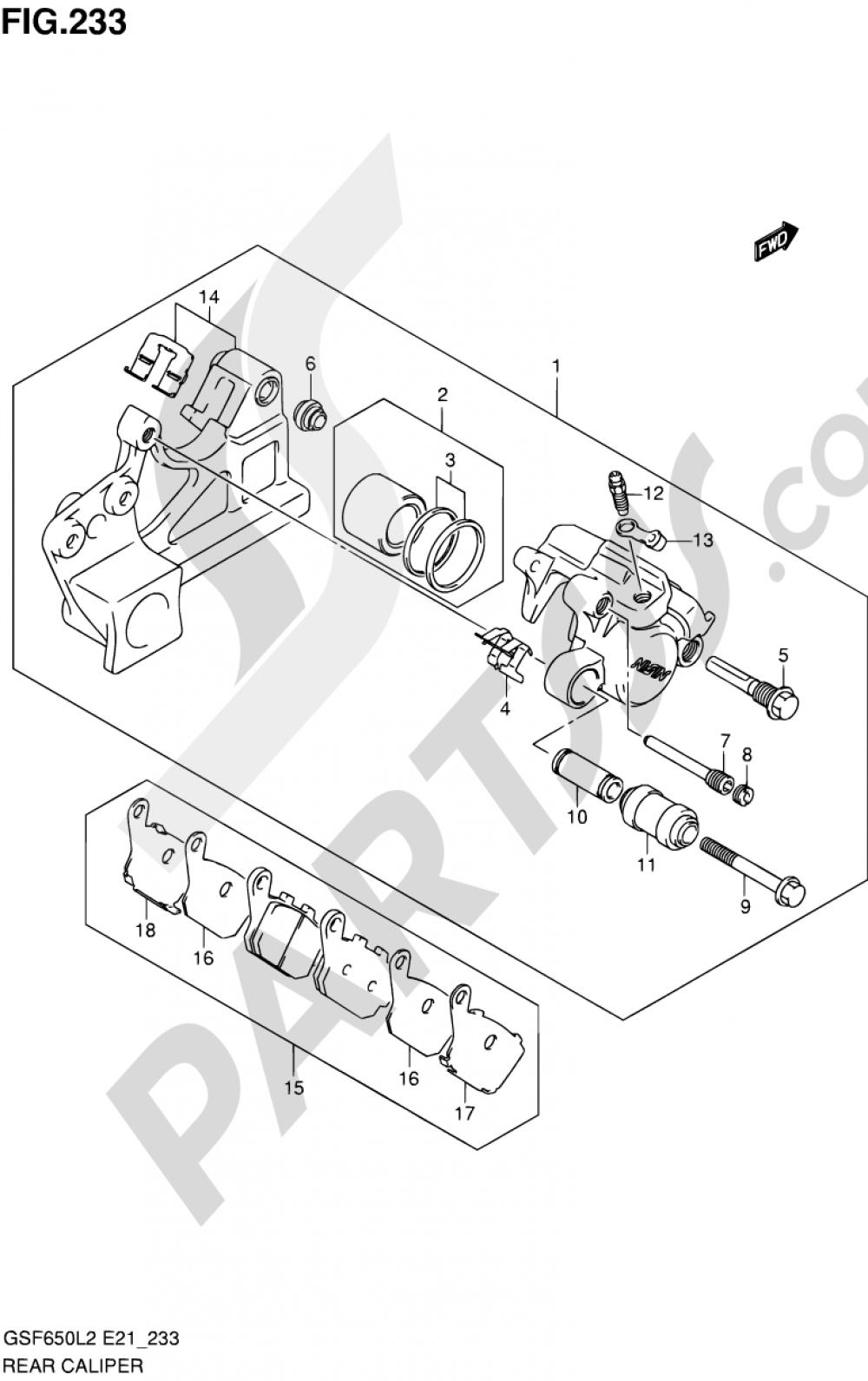 233 - REAR CALIPER (GSF650AL2 E21) Suzuki BANDIT GSF650A 2012