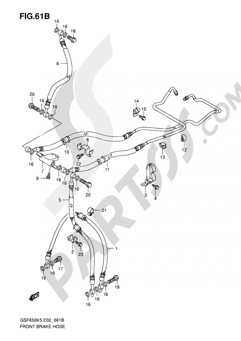 61B - FRONT BRAKE HOSE (GSF650SAK5/SUAK5/SAK6/SUAK6) Suzuki BANDIT GSF650S 2005
