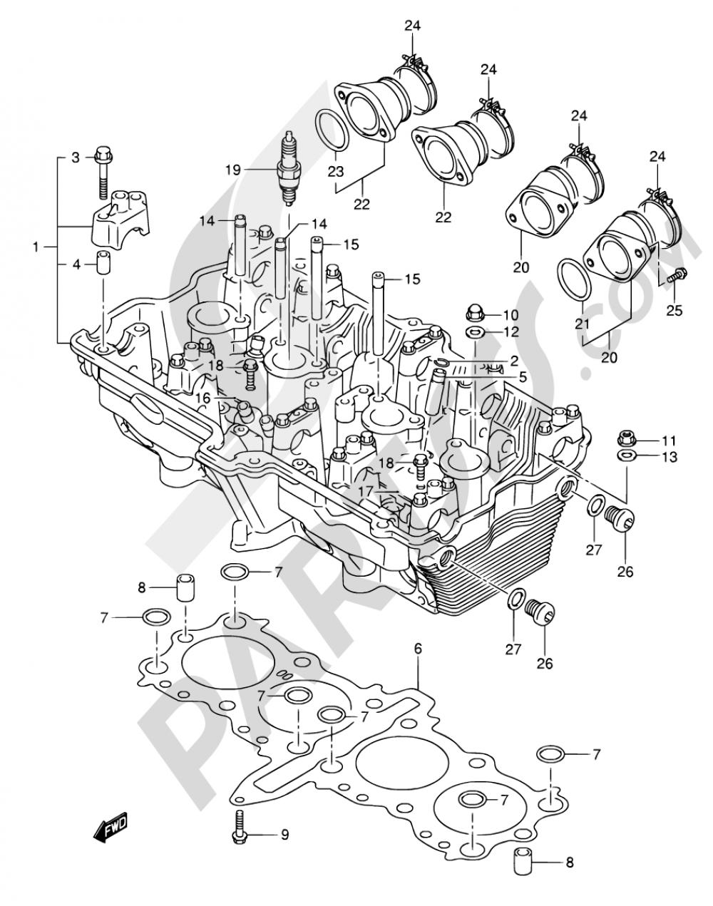 3 - CYLINDER HEAD Suzuki BANDIT GSF650S 2006