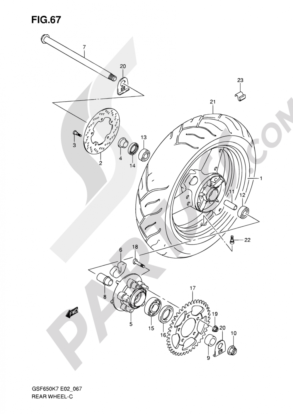67 - REAR WHEEL (GSF650K7/UK7/SK7/SUK7/K8/UK8/SK8/SUK8) Suzuki BANDIT GSF650S 2007