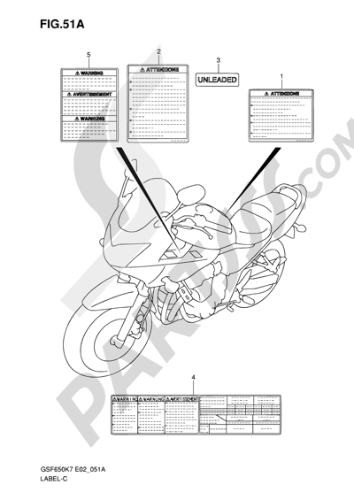 Suzuki BANDIT GSF650S 2008 51A - LABEL (MODEL K8)