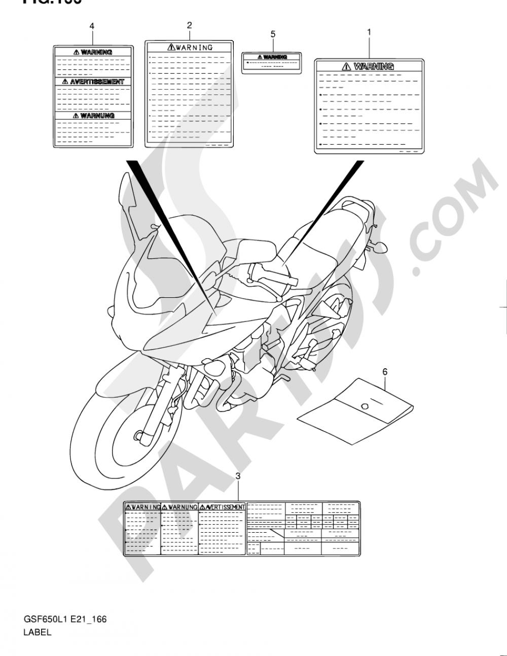 166 - LABEL (GSF650SUAL1 E21) Suzuki BANDIT GSF650S 2011