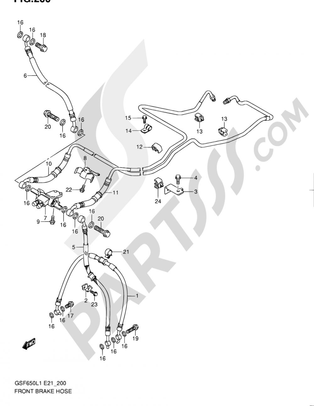 200 - FRONT BRAKE HOSE (GSF650UAL1 E21) Suzuki BANDIT GSF650S 2011