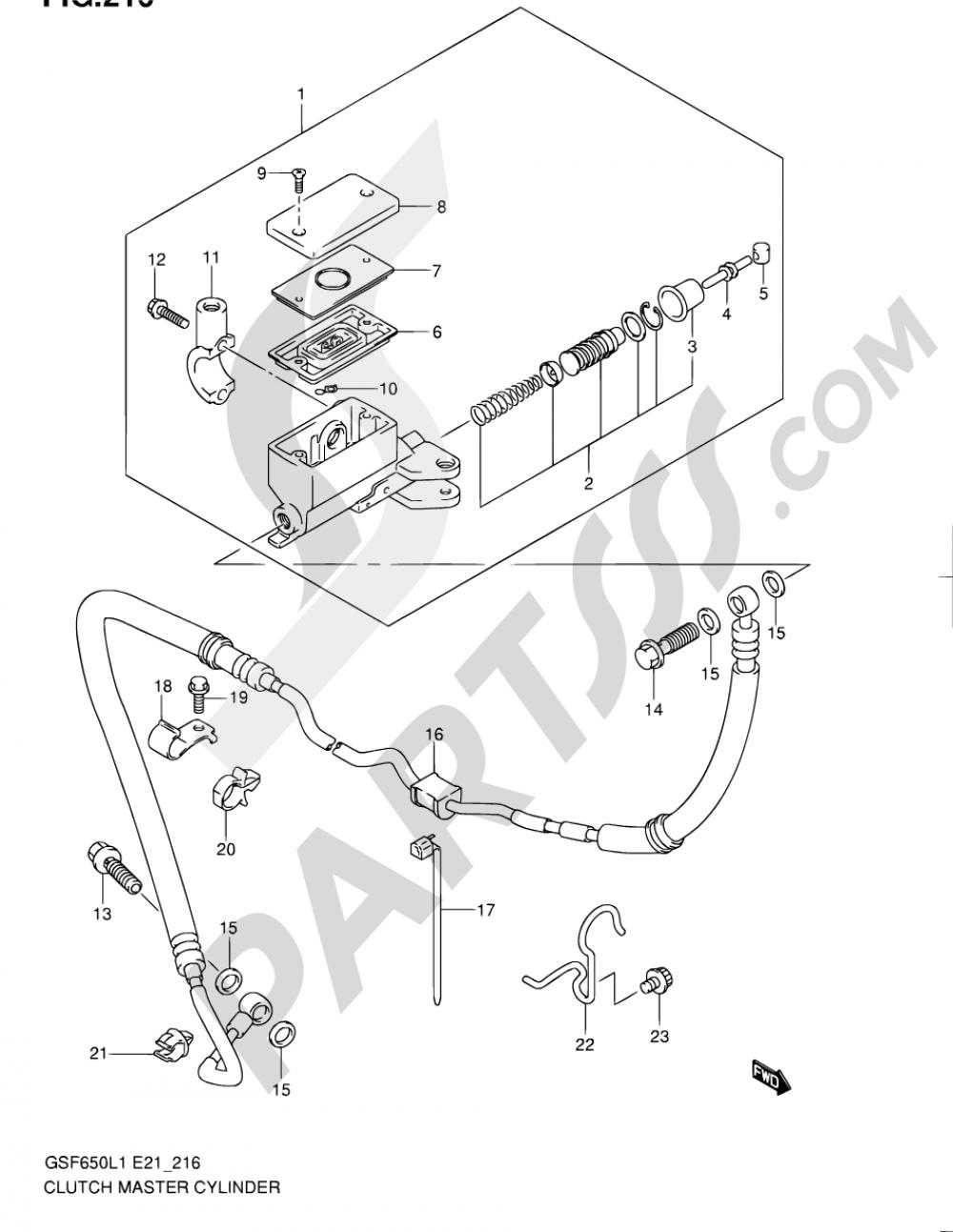 216 - CLUTCH MASTER CYLINDER (GSF650UAL1 E21) Suzuki BANDIT GSF650S 2011