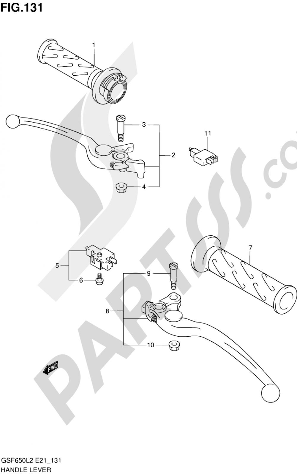 131 - HANDLE LEVER (GSF650SL2 E21) Suzuki BANDIT GSF650S 2012