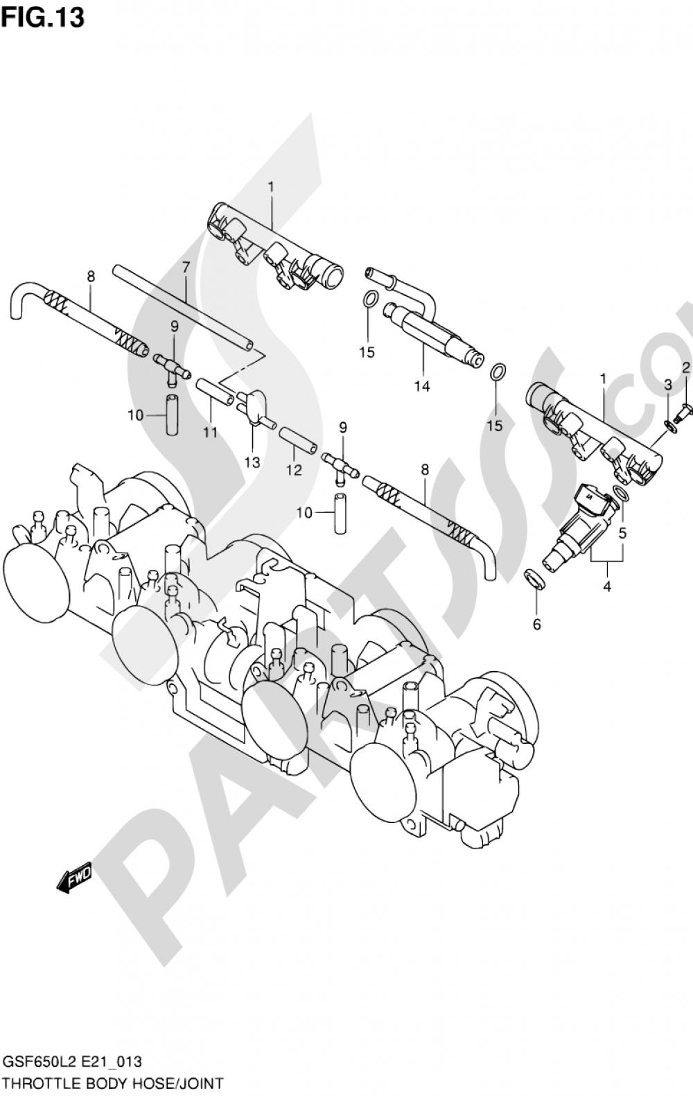 13 - THROTTLE BODY HOSE/JOINT Suzuki BANDIT GSF650S 2012