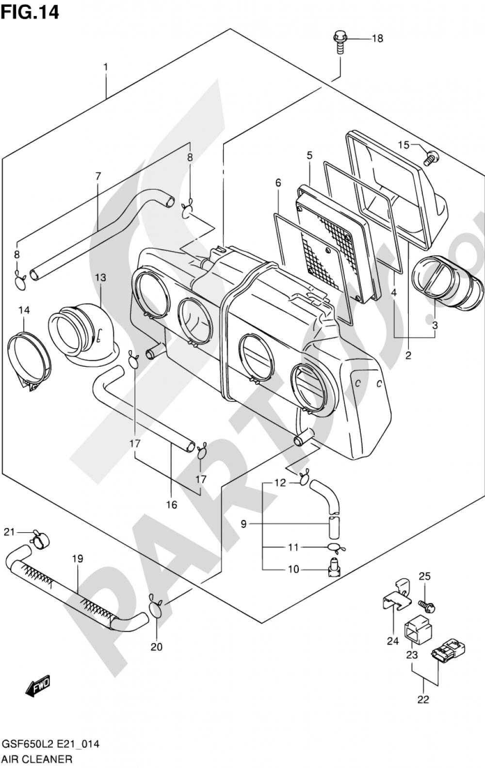 14 - AIR CLEANER Suzuki BANDIT GSF650S 2012