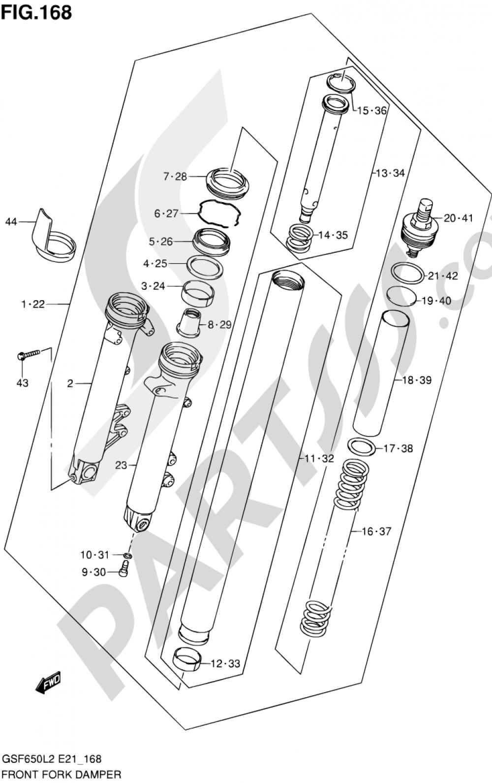 168 - FRONT FORK DAMPER (GSF650L2 E21) Suzuki BANDIT GSF650S 2012