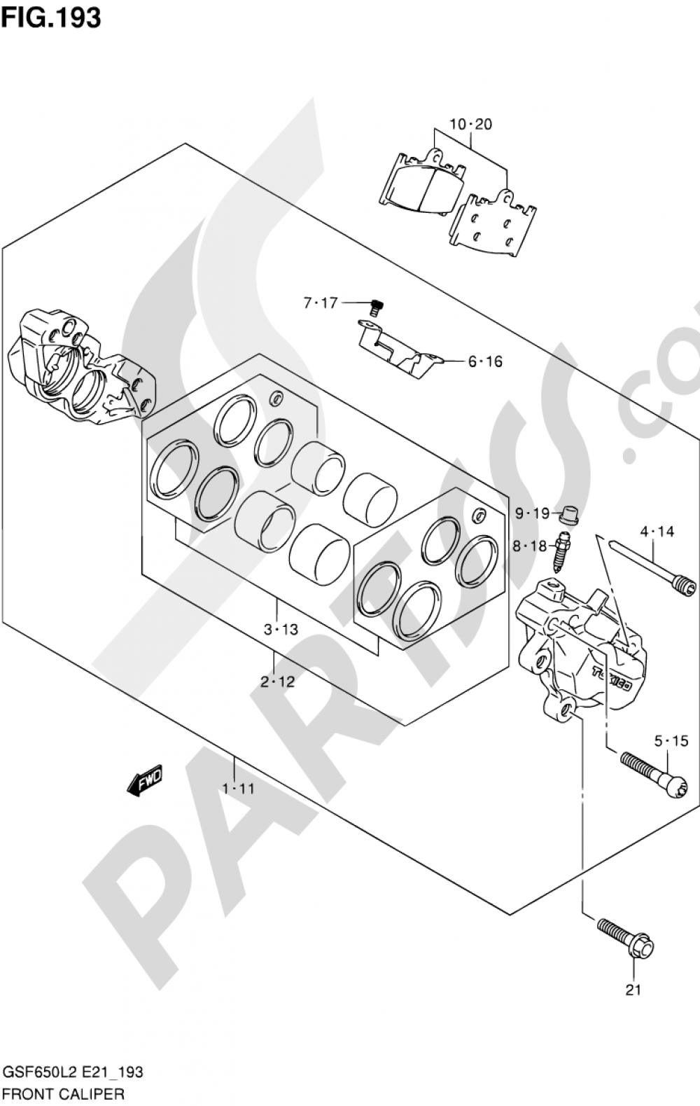 193 - FRONT CALIPER (GSF650SL2 E21) Suzuki BANDIT GSF650S 2012