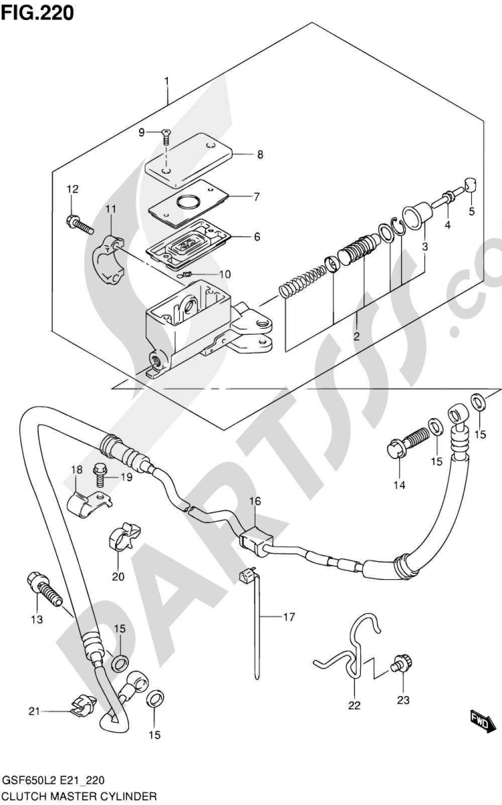 220 - CLUTCH MASTER CYLINDER (GSF650SUAL2 E21) Suzuki BANDIT GSF650S 2012