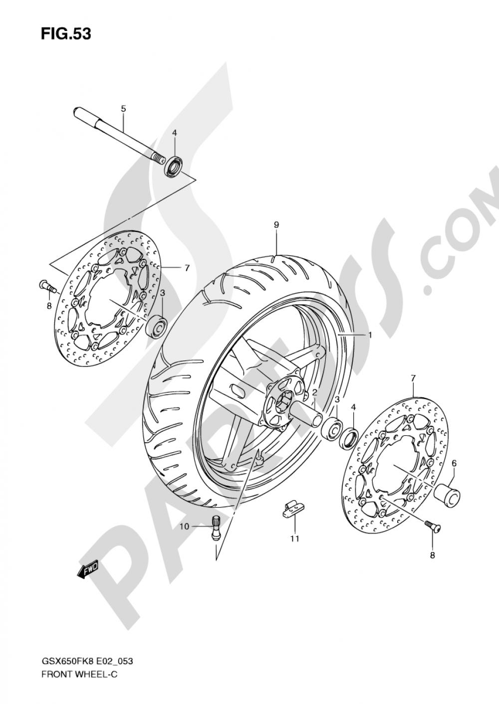 53 - FRONT WHEEL (GSX650FK8/FUK8/FK9/FUK9/FL0/FUL0) Suzuki GSX650F 2008