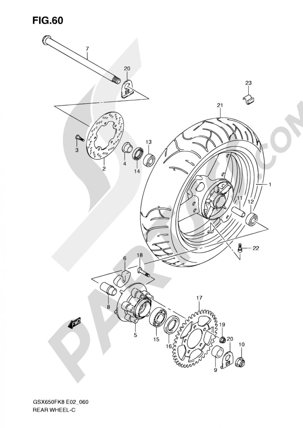 60 - REAR WHEEL (GSX650FK8/FUK8/FK9/FUK9/FL0/FUL0) Suzuki GSX650F 2008