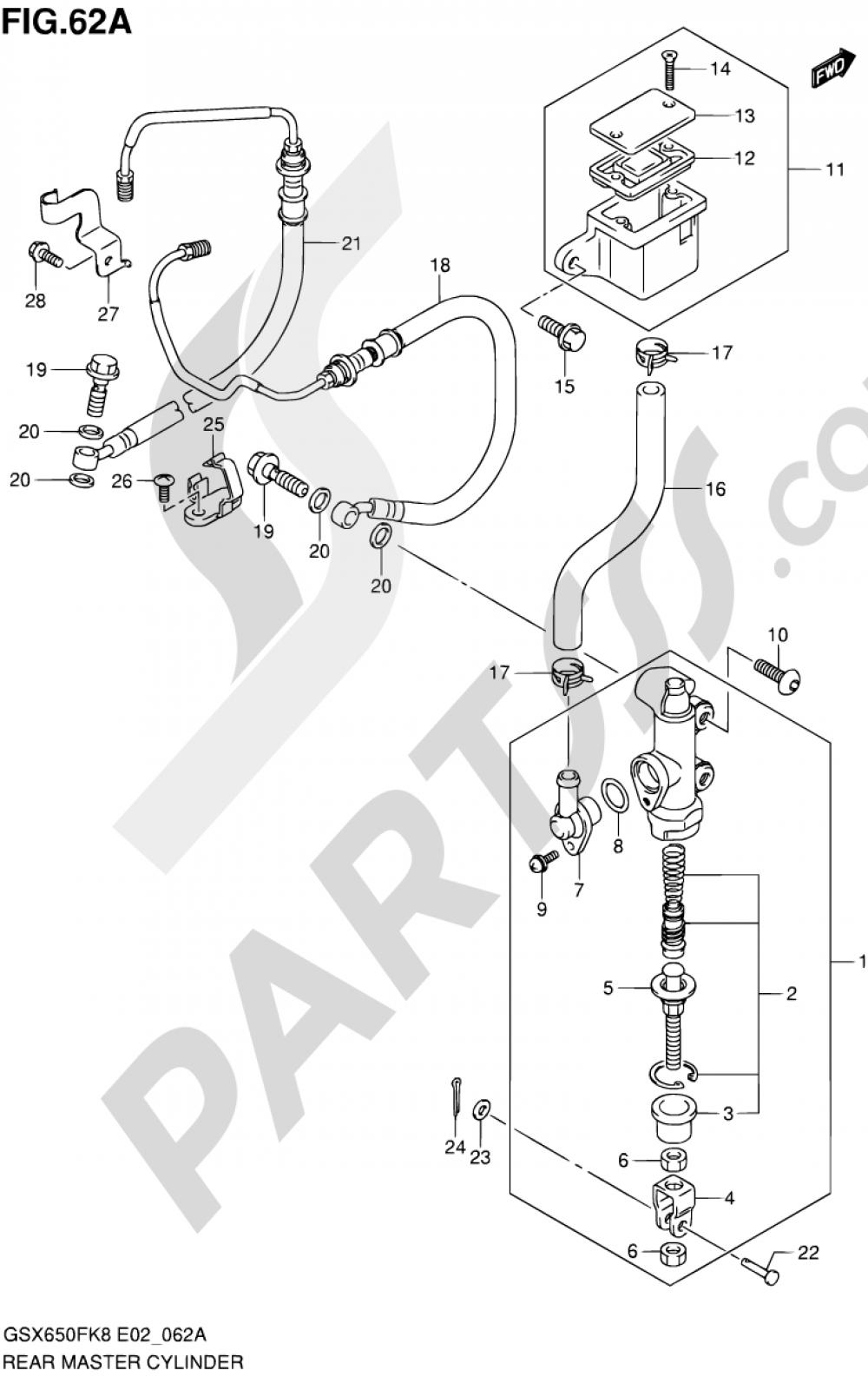 62A - REAR MASTER CYLINDER (GSX650FAK9/FUAK9/FL0/FUL0/FAL0/FUAL0) Suzuki GSX650F 2008