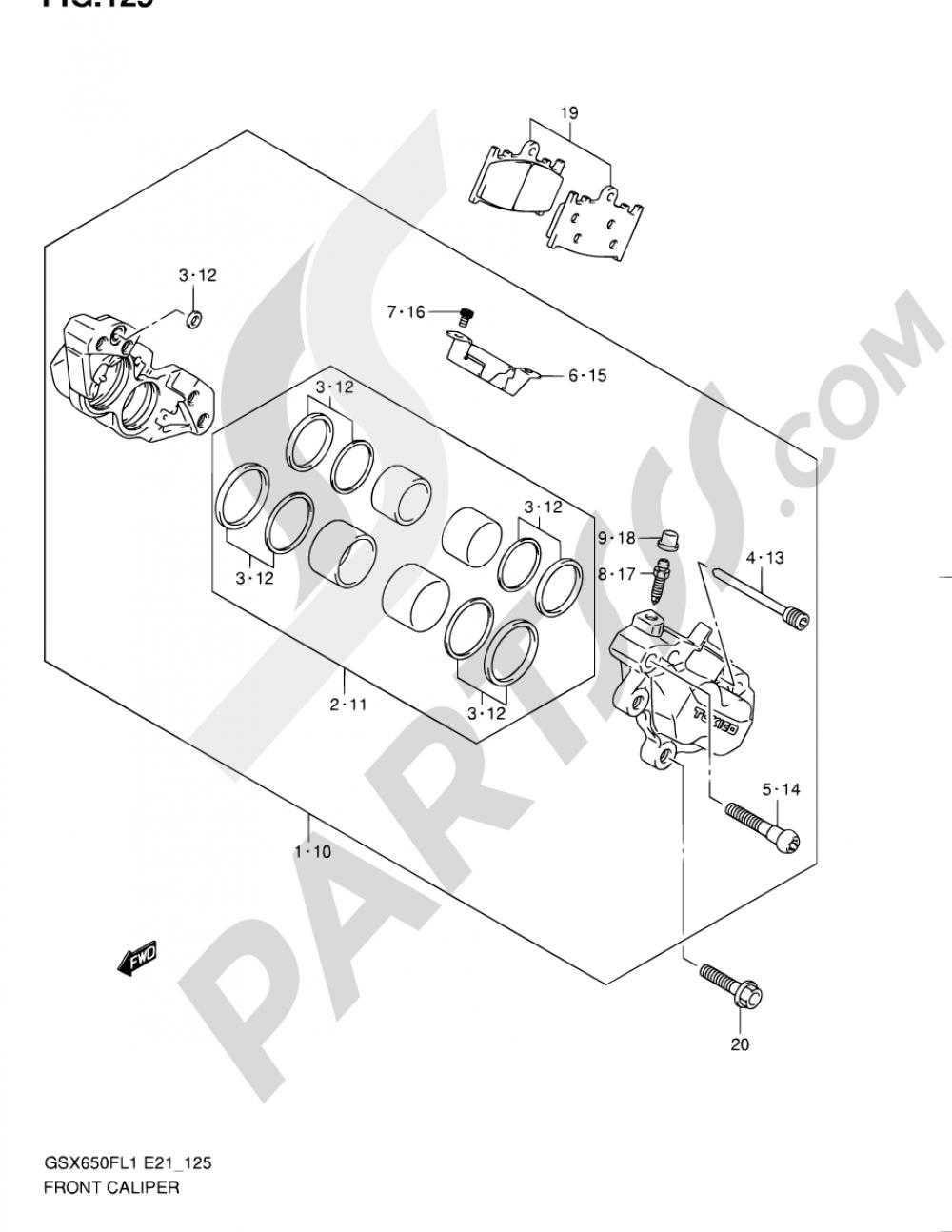 125 - FRONT CALIPER (GSX650FL1 E21) Suzuki GSX650F 2011
