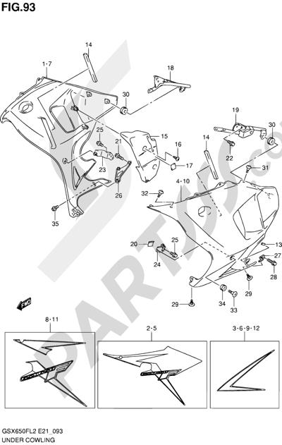 Suzuki GSX650F 2012 93 - UNDER COWLING (GSX650FUL2 E21)