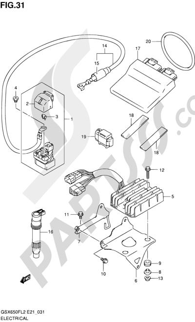 Suzuki GSX650F 2012 31 - ELECTRICAL (GSX650FUAL2 E21)