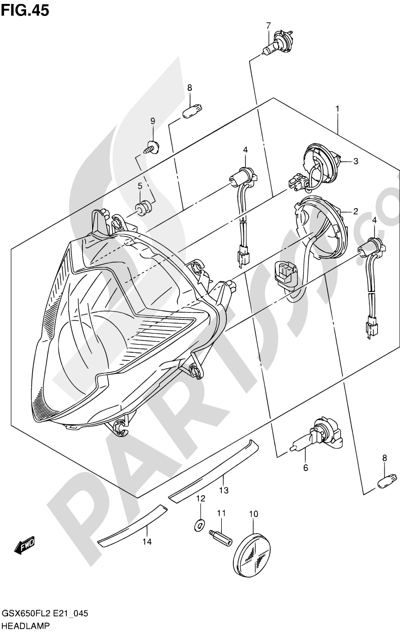 Suzuki GSX650F 2012 45 - HEADLAMP (GSX650FL2 E24)