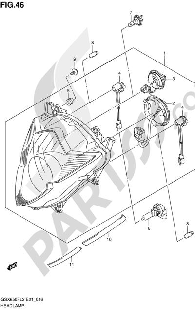 Suzuki GSX650F 2012 46 - HEADLAMP (GSX650FUL2 E21)