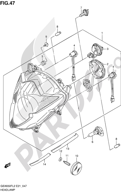 Suzuki GSX650F 2012 47 - HEADLAMP (GSX650FUL2 E24)