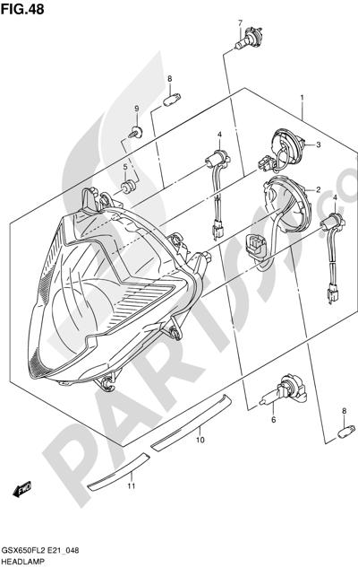 Suzuki GSX650F 2012 48 - HEADLAMP (GSX650FAL2 E21)