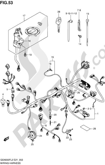 Suzuki GSX650F 2012 53 - WIRING HARNESS (GSX650FL2 E24)
