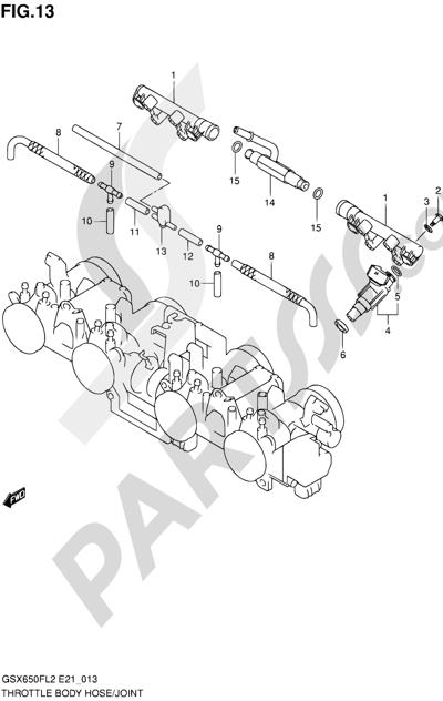 Suzuki GSX650F 2012 13 - THROTTLE BODY HOSE/JOINT