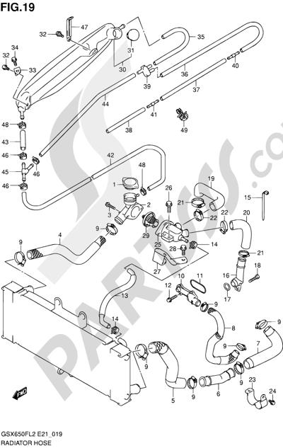 Suzuki GSX650F 2012 19 - RADIATOR HOSE
