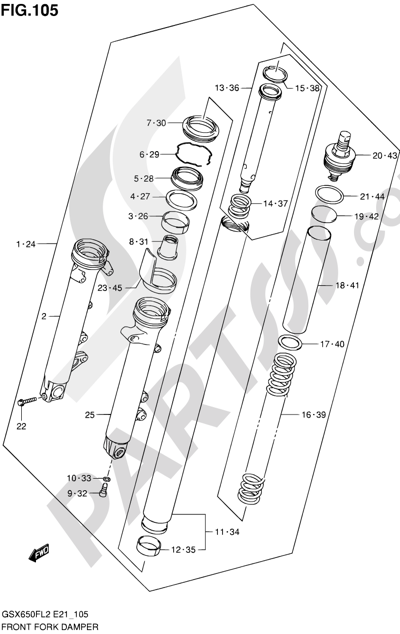 Suzuki GSX650F 2012 105 - FRONT FORK DAMPER (GSX650FL2 E21)