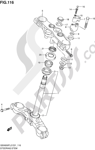 Suzuki GSX650F 2012 116 - STEERING STEM (GSX650FUAL2 E21)