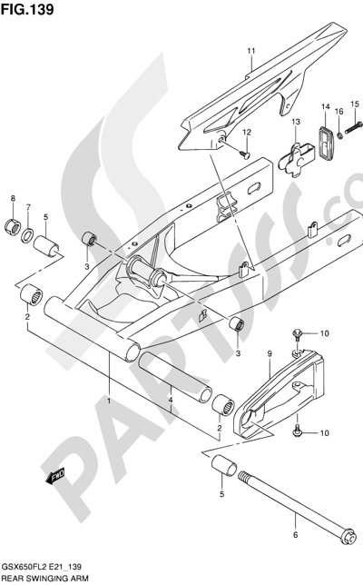 Suzuki GSX650F 2012 139 - REAR SWINGING ARM