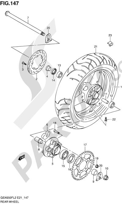 Suzuki GSX650F 2012 147 - REAR WHEEL (GSX650FL2 E24)