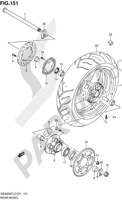 Suzuki GSX650F 2012 151 - REAR WHEEL (GSX650FUAL2 E21)