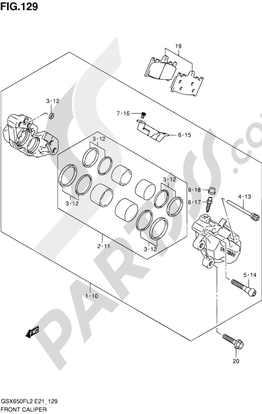 129 - FRONT CALIPER (GSX650FAL2 E21) Suzuki GSX650F 2012
