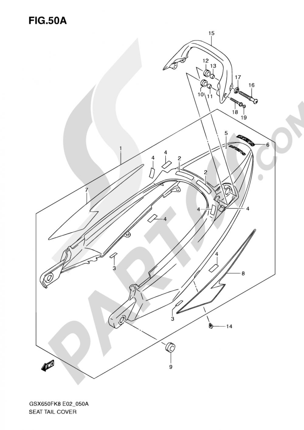 50A - SEAT TAIL COVER (MODEL K9) Suzuki GSX650FA 2009