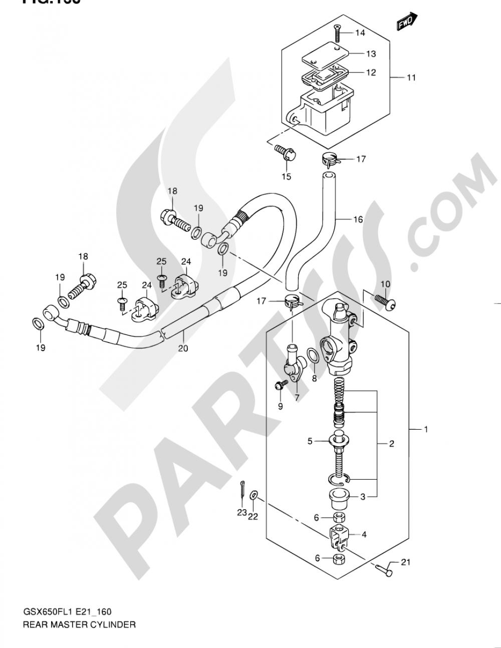 160 - REAR MASTER CYLINDER (GSX650FUL1 E21) Suzuki GSX650FA 2011