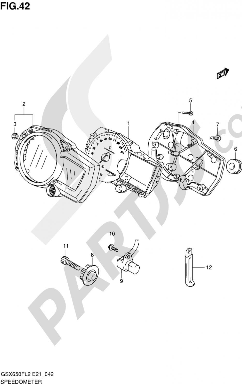 42 - SPEEDOMETER (GSX650FAL2 E21) Suzuki GSX650FA 2012