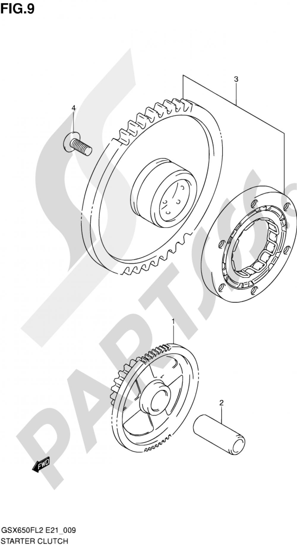 9 - STARTER CLUTCH Suzuki GSX650FA 2012