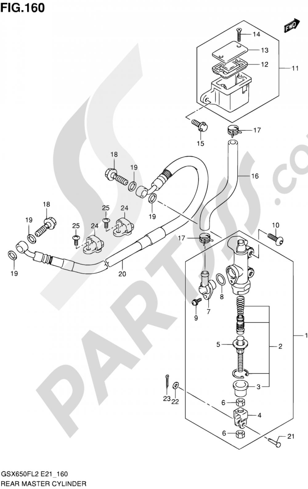 160 - REAR MASTER CYLINDER (GSX650FUL2 E21) Suzuki GSX650FA 2012