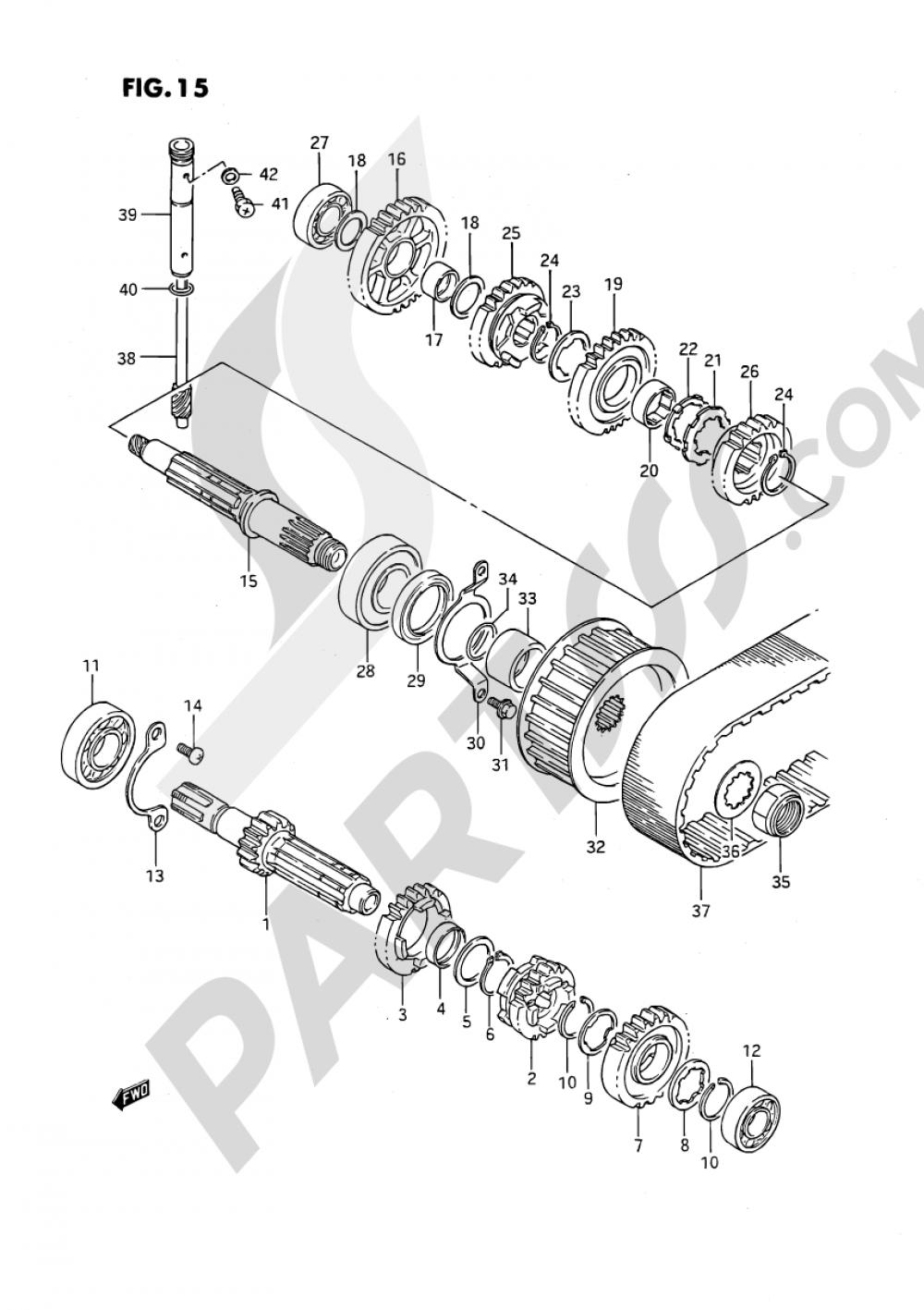15 - TRANSMISSION (MODEL G/J/K/L,LS650PM E01) Suzuki SAVAGE LS650P 1990