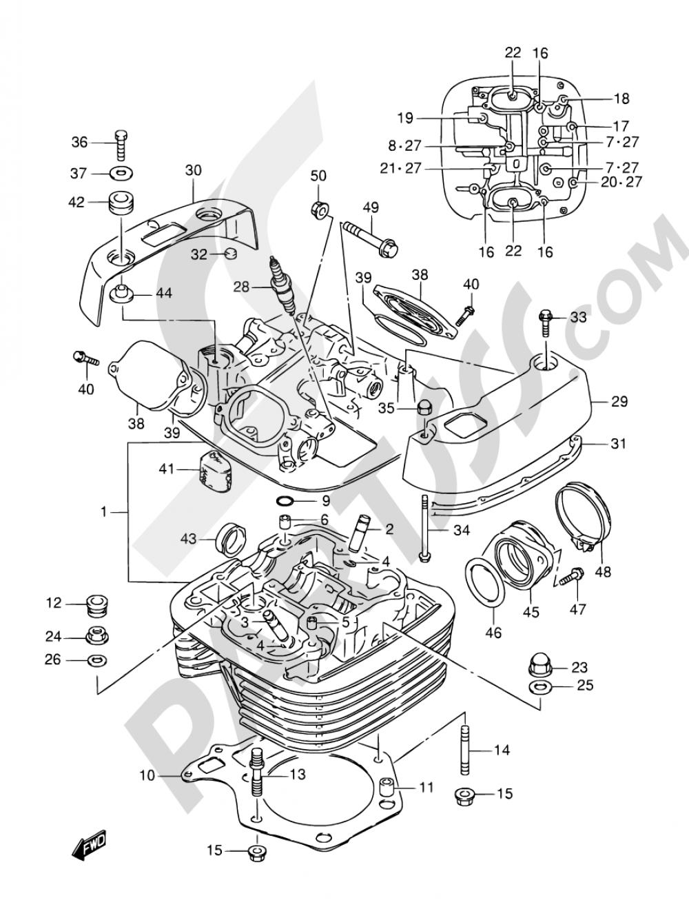 1A - CYLINDER HEAD Suzuki SAVAGE LS650P 1997