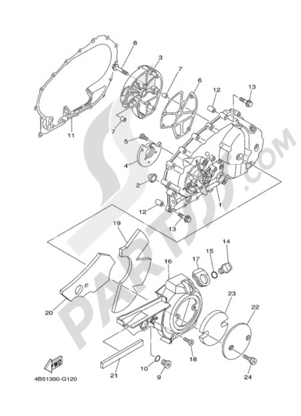 CRANKCASE COVER 1 Yamaha T-Max 2011