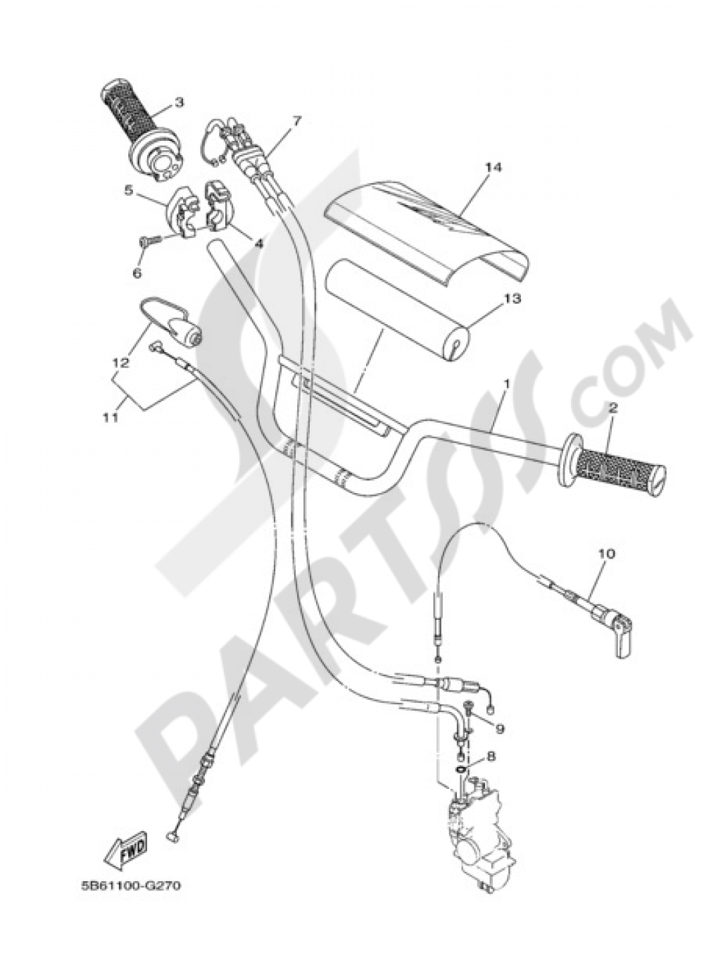 STEERING HANDLE & CABLE Yamaha TT-R110E 2010