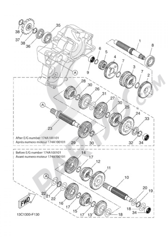 TRANSMISSION Yamaha DT50X 2010