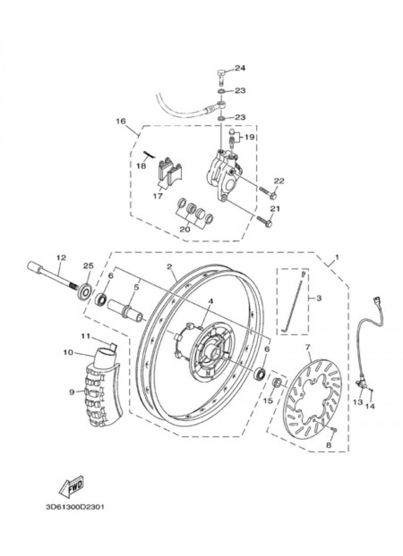 FRON WHEEL & BRAKE SYSTEM Yamaha XT125R 2005
