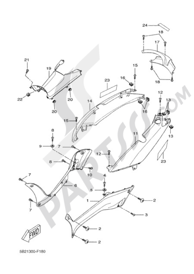 Yamaha X-City 250 2011 SIDE FAIRING / COWLING