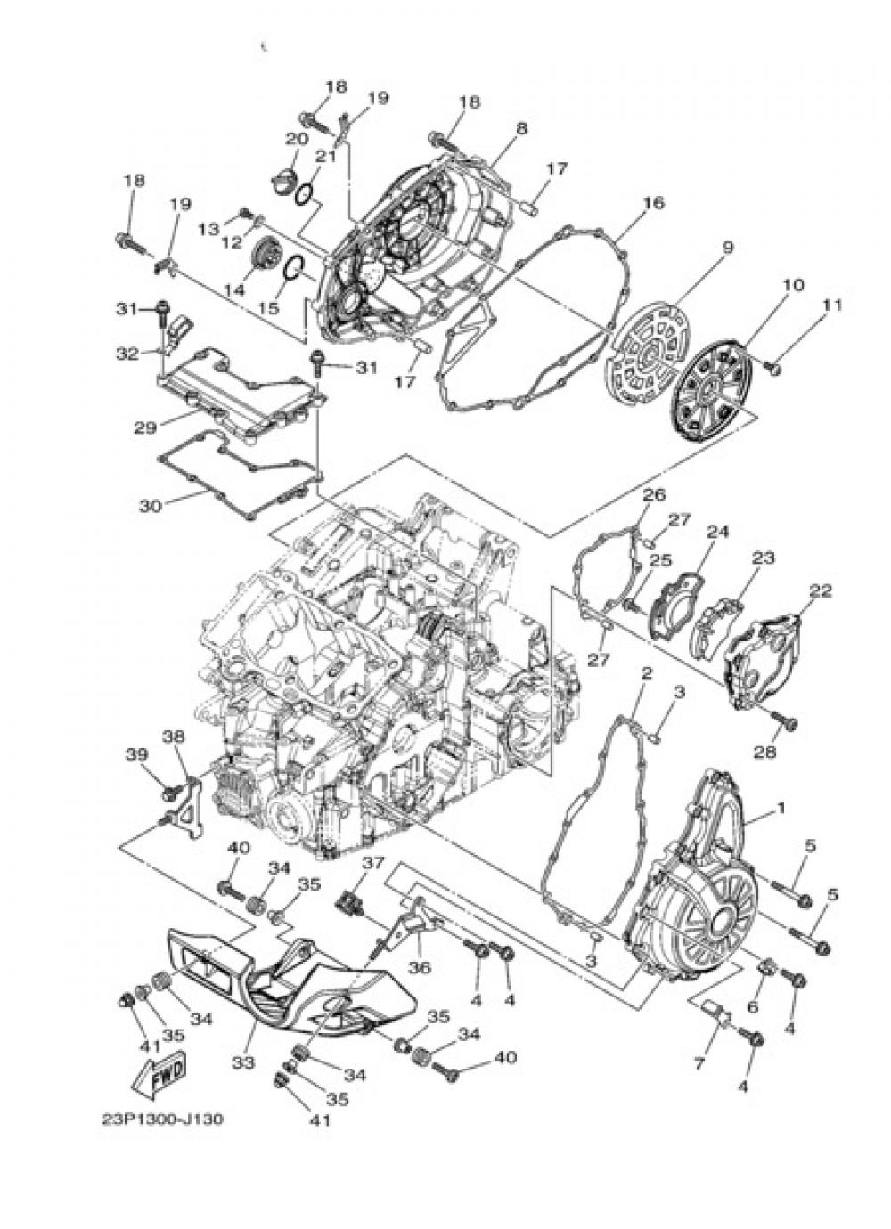 CRANKCASE COVER 1 Yamaha XT1200Z SuperTenere 2010